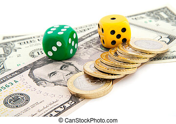 dice and dollars. isolated on a white background