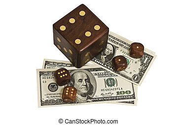 dice and money isolated on a white background