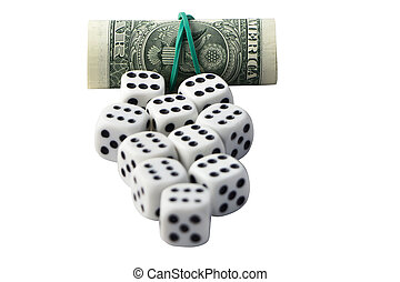 Dice and roll of money on a white background.