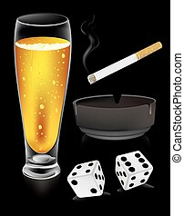 dice beer and cigarette vector .eps