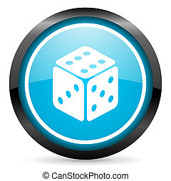 dice blue glossy circle icon on white background