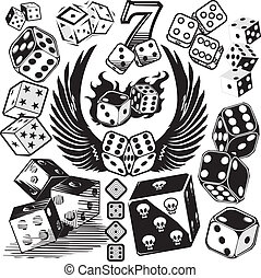 Clip art collection of dice icons and symbols