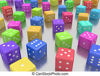 Tens of dice arranged in random position and random colors