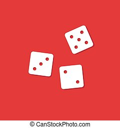 dice cubes illustration on red
