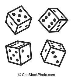 Dice Cubes Set on White Background. Vector