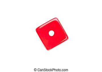Dice designating a number one against a white background