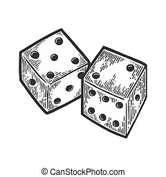 Dice engraving vector illustration. Scratch board style...