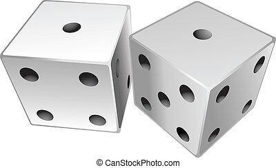 Dice showing a total of two, snake eyes.