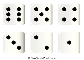 Dice Faces - The six faces of an ivory white dice