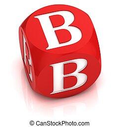 dice font letter B 3d illustration
