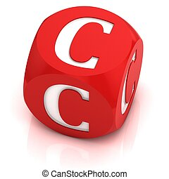 dice font letter C 3d illustration
