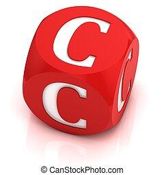 dice font letter C 3d illustration