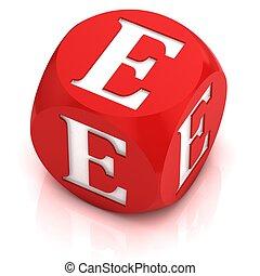 dice font letter E 3d illustration