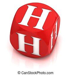 dice font letter H 3d illustration