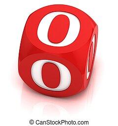 dice font letter O 3d illustration