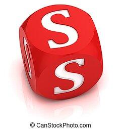 dice font letter S 3d illustration