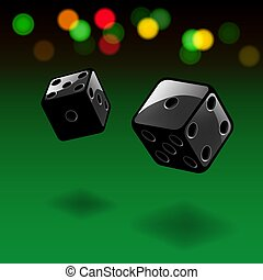 Dice gambling background. Black cubes with lights on green background. Vector illustration.