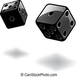 Dice gambling template. Black cubes on white background. Vector illustration
