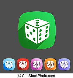 Dice game cube icon flat web sign symbol logo label set
