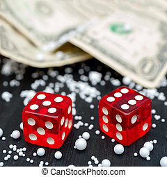 Dice game. Dice on the table. Dollar bills.