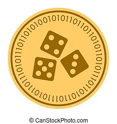 Dice golden digital coin vector icon. gold yellow flat coin cryptocurrency symbol isolated on white. eps 10