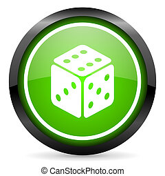 dice green glossy icon on white background