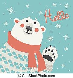 dice, hola, oso, polar