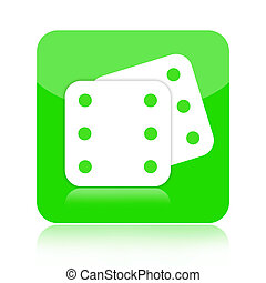 Dice icon - Dice green icon isolated on white background