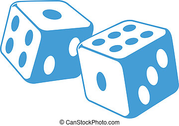 A illustration of a pair dice in motion.