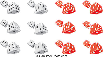 Dice - Illustration of both white and red dice. Each...