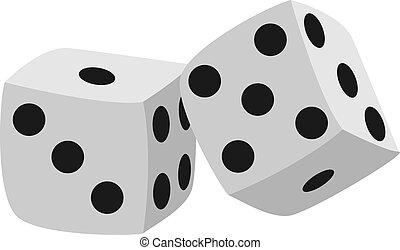 Dice, illustration, vector on white background.