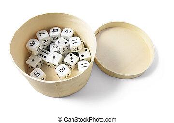 Dice in Round Box