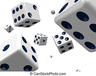 Dice In Space - Dice space on a white background