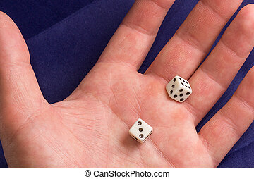 dice in the palm