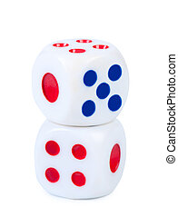 Dice isolated on white close-up.