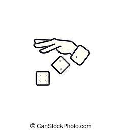 Dice linear icon concept. Dice line vector sign, symbol, illustration.