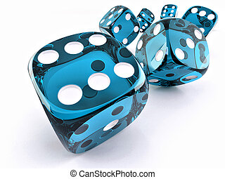 Dice. Many cubes on whote background. 3d