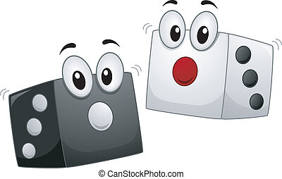 Dice Mascot - Mascot Illustration of a Pair of Dice in Black...