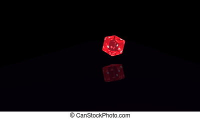 Dice No 3 - Rolling dice, transparent red, landing at number...