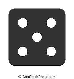Dice number five icon