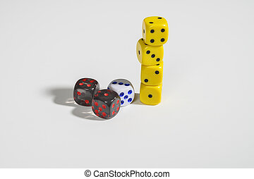 Dice on a white background. Not isolate