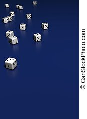 Dice on blue background