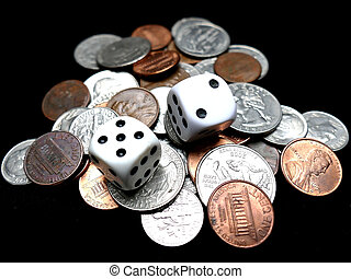 Dice on coins. Gambling concept