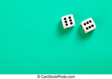dice on green background