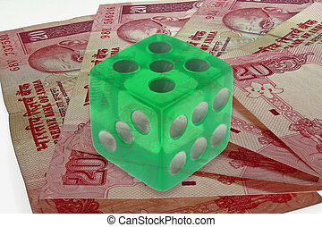 dice on money background, business concept