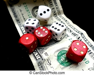 Dice on one dollar banknote. Gambling concept