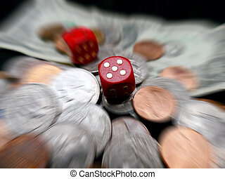 Dice on paper money and coins. Gambling concept