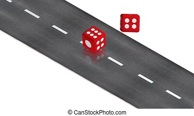 Dice on the road - part of isometric collections of animated...