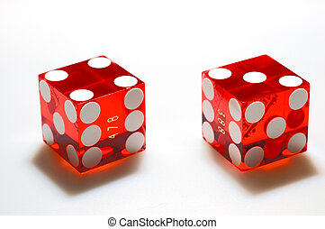 Dice on White - Real, red casino dice on a white background....