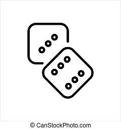 Dice outline icon. Symbol, logo illustration for mobile concept and web design.